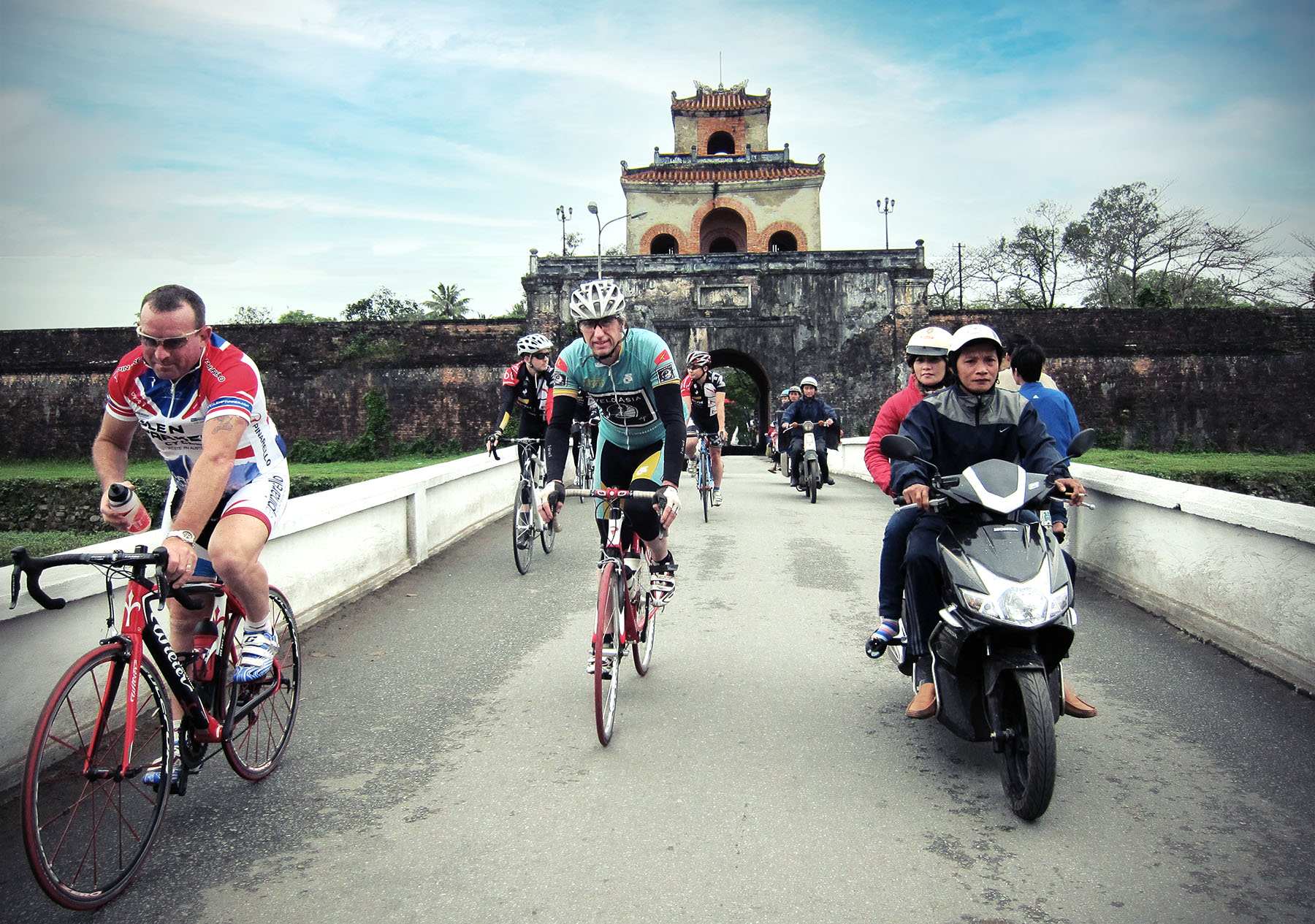 Bicyclists touring in Hue, Vietnam